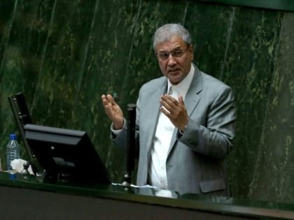 Iran's Labour Minister Ali Rabiei, seen here addressing parliament on March 13, 2018, has been impeached amid mounting anger over the government's handling of an economic crisis which has deepened with the return of US sanctions