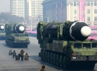 In this file photo taken on February 8, 2018 and released on February 9, 2018 by North Korea's official Korean Central News Agency (KCNA) shows Hwasong-15 ballistic missiles during the military parade to mark the 70th anniversary of the Korean People's Army at Kim Il Sung Square in Pyongyang