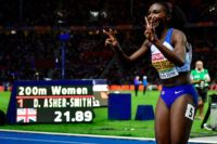 Double top: Great Britain's Dina Asher-Smith celebrates winning the women's 200m