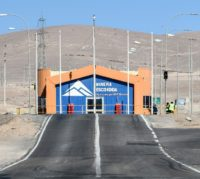 The entrance to Chile's Escondida mine, which produces five percent of the world's copper, pictured in 2017