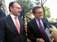 Mexican Foreign Minister Luis Videgaray (L) and Economy Minister Ildefonso Guajardo met with US officials in Washington to reach a deal updating the North American Free Trade Agreement (NAFTA)