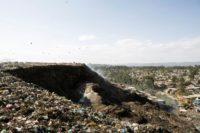 A photo taken March 12, 2017 shows a view of the main landfill of Addis Ababa on the outskirts of the city, where Ethiopia has built a power plant to convert waste into energy