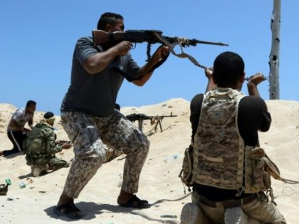 Fighters loyal to Libya's internationally recognised government fight against Islamic State group jihadists in the city of Sirte on June 25, 2016