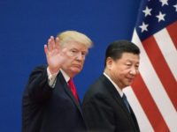 US President Donald Trump and China's President Xi Jinping leaving a business leaders event at the Great Hall of the People in Beijing last year