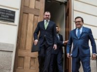 Mexican Foreign Minister Luis Videgaray (L) and Mexico's Secretary of Economy Ildefonso Guajardo leave the Office of the US Trade Representative after a day of meetings on the NAFTA treaty