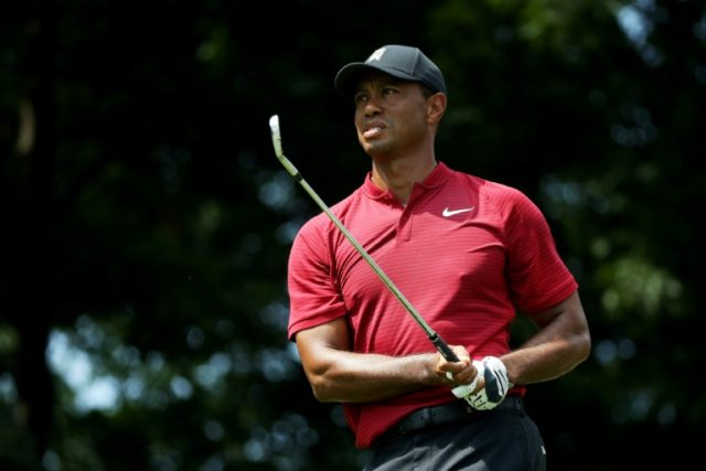 Tiger Woods of the United States plays a shot on the 11th hole during the final round of The Northern Trust on August 26, 2018 at the Ridgewood Championship Course in Ridgewood, New Jersey