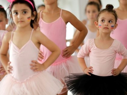 Lebanese girls attend a ballet class at the Russian-Lebanese cultural centre in the city of Aley