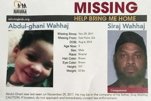 This undated posted provided by the National Center for Missing & Exploited Children shows Abdul-ghani Wahhaj, left, and his father Siraj Wahhaj, who police are seeking the public's in finding. Police reports show that the Georgia boy missing after authorities raided a New Mexico compound over the weekend was last …