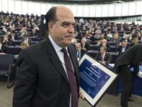 In this Dec.13, 2017 file photo, president of Venezuelan parliament Julio Borges leaves after receiving the Sakharov Prize for Freedom of Thought, an award given to Venezuela's opposition, in Strasbourg, eastern France. On Tuesday, Aug. 7, 2018, Venezuelan President Nicolas Maduro implicated Borges, one of the country's most prominent opposition …