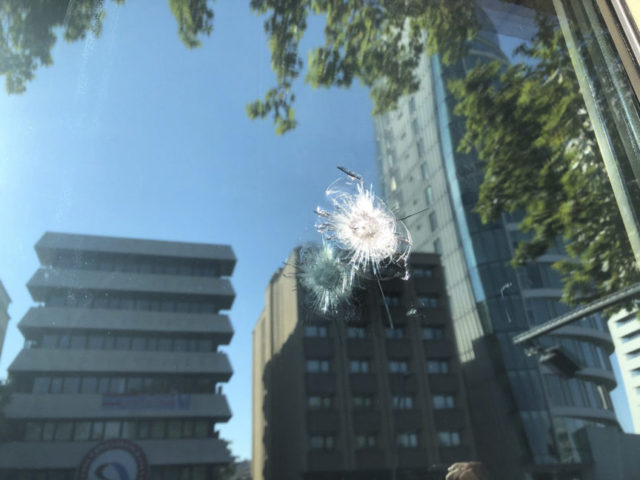 Turkey United States The damage to a security booth by a shot fired, is seen outside the U.S. Embassy in Ankara, Turkey, Monday, Aug. 20, 2018. Shots were fired at a security booth outside the embassy in Turkey's capital early Monday, but U.S. officials said no one was hurt. Ties …
