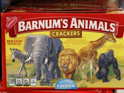 This Monday, Aug. 20, 2018, photo shows a box of Nabisco Barnum's Animals crackers on the shelf of a local grocery store in Des Moines, Iowa. Mondelez International says it has redesigned the packaging of its Barnum's Animals crackers after relenting to pressure from People for the Ethical Treatment of …