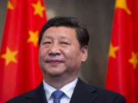 Chinese President Xi Jinping stands by national flags at the Schloss Bellevue presidential residency in Berlin on March 28, 2014. Chinese President Xi Jinping begins a landmark visit to fellow export powerhouse Germany Friday, the third leg of his European tour, expected to cement flourishing trade ties and focus on …