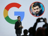 INSET: New York Times reporter Jack Nicas. Google CEO Sundar Pichai speaks during a product event, Tuesday, Oct. 4, 2016, in San Francisco. Google launched an aggressive challenge to Apple and Samsung, introducing its own new line of smartphones called Pixel, which are designed to showcase a digital helper the …