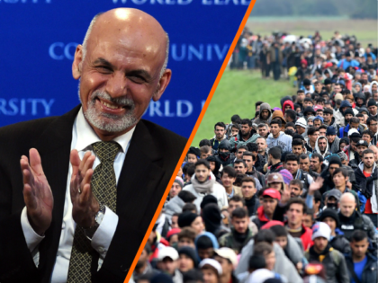 (L) Afghanistan's President Ashraf Ghani gestures before speaking at Columbia University in New York on March 26, 2015. Ghani, on his first trip to the United States since he was elected president, spoke at Columbias World Leaders Forum on 'The New Beginning in Afghanistan.' AFP PHOTO / TIMOTHY A. CLARY …