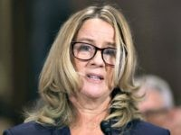 WASHINGTON, DC - SEPTEMBER 27: Christine Blasey Ford testifies before the Senate Judiciary Committee in the Dirksen Senate Office Building on Capitol Hill September 27, 2018 in Washington, DC. A professor at Palo Alto University and a research psychologist at the Stanford University School of Medicine, Ford has accused Supreme …