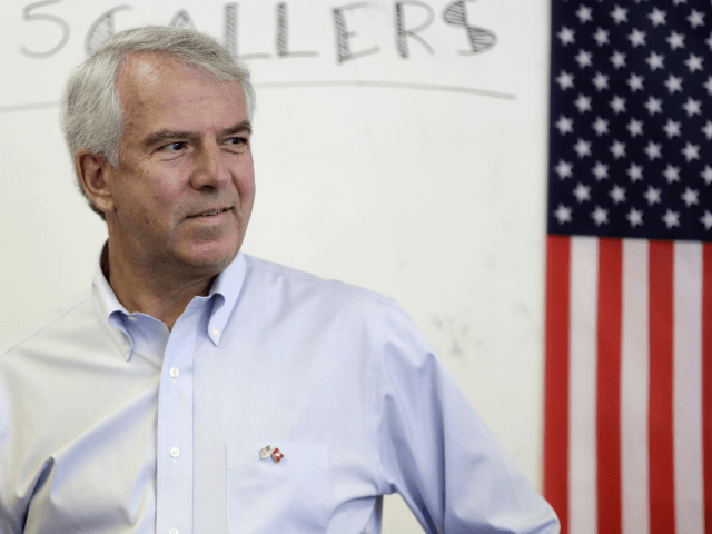 Bob Hugin, a Republican candidate running in in next week's New Jersey primary election for U.S. Senate, talks with constituents during the Monmouth GOP Super Saturday campaign drive, Saturday, June 2, 2018, in Colts Neck, N.J. (AP Photo/Julio Cortez)