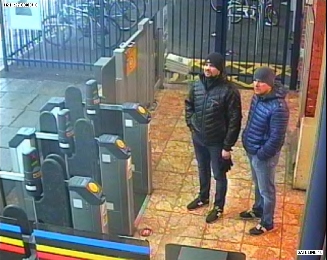 The two suspects caught on CCTV while standing at Salisbury railway station at 16:11hrs on 03 March 2018  Metropolitan Police Handout