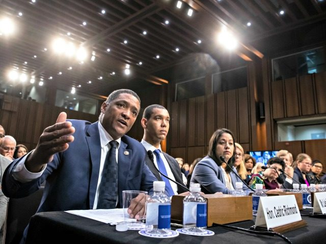 Rep. Cedric Richmond, D-La., who is chairman of the Congressional Black Caucus, joins other character witnesses and legal experts testifying before the Senate Judiciary Committee on the last day of the confirmation hearing for President Donald Trump's Supreme Court nominee, Brett Kavanaugh, on Capitol Hill in Washington, Friday, Sept. 7, …