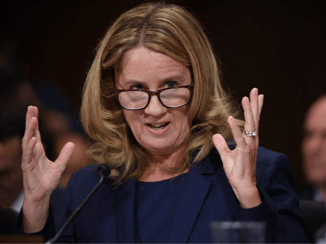Christine Blasey Ford, testifies before the US Senate Judiciary Committee in the Dirksen Senate Office Building on Capitol Hill September 27, 2018 in Washington, DC. A professor at Palo Alto University and a research psychologist at the Stanford University School of Medicine, Ford has accused Supreme Court nominee Judge Brett …