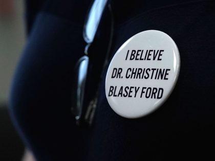 Christine Blasey Ford button (Alex Wong / Getty)