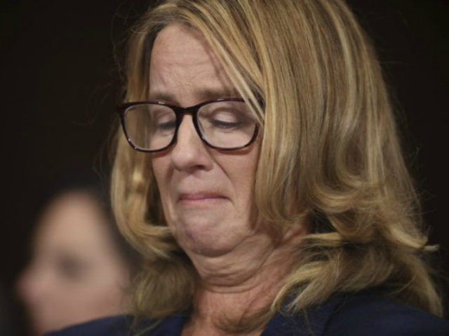 Christine Blasey Ford testifies to the Senate Judiciary Committee on Capitol Hill in Washington, Thursday, Sept. 27, 2018. (Saul Loeb/Pool Photo via AP)