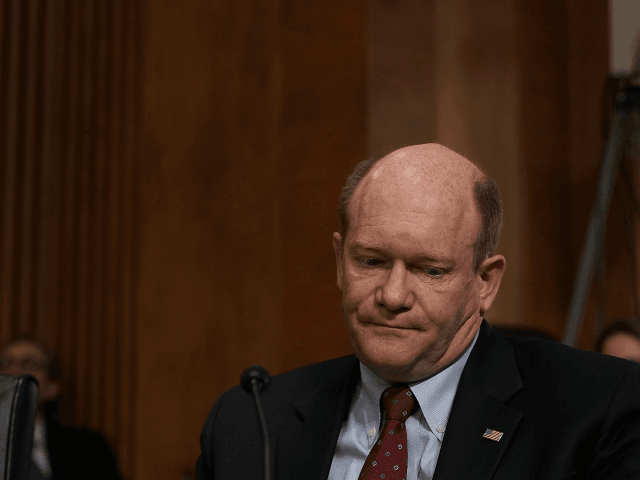 U.S. Chris Coons (D-DE) attends a Senate Foreign Relations Committee meeting April 23, 2018 on Capitol Hill in Washington, DC. The committee has approved to the nomination of CIA Director Mike Pompeo to be the next Secretary of State. Sen. Coons broke a deadlock and voted 'present' to avoid keeping …
