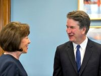 WASHINGTON, DC - AUGUST 21: Supreme Court Nominee Brett Kavanaugh meets with Sen. Susan Collins (R-ME) in her office on Capitol Hill on August 21, 2018 in Washington, DC. The confirmation hearing for Judge Kavanaugh is set to begin September 4.
