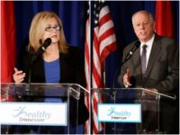 Marsha Blackburn and her opponent for the Tennessee Senate, former Gov. Phil Bredesen.