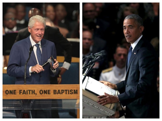Combo picture of Bill Clinton speaking at Aretha Franklin's funeral and Barack Obama speaking at Sen. John McCain's funeral.