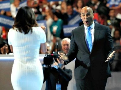 PHILADELPHIA, PA - JULY 25: Sen. Cory Booker (D-NJ) reacts after actress Eva Longoria introduced him on the first day of the Democratic National Convention at the Wells Fargo Center, July 25, 2016 in Philadelphia, Pennsylvania. An estimated 50,000 people are expected in Philadelphia, including hundreds of protesters and members …