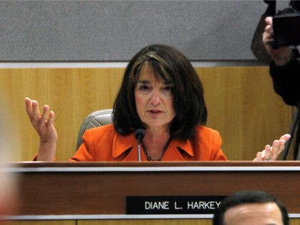 Assemblywoman Diane Harkey, R-Dana Point questions Gov. Jerry Brown about his proposed state budget during his appearance before the joint legislative budget conference committee at the Capitol in Sacramento, Calif., Thursday, Feb. 24, 2011. (AP Photo/Rich Pedroncelli)