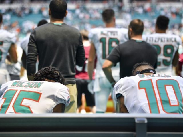 Three Dolphins Protest During the National Anthem