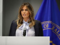 U.S. first lady Melania Trump delivers remarks during a Federal Partners in Bullying Prevention summit at the Health Resources and Service Administration August 20, 2018 in Rockville, Maryland.