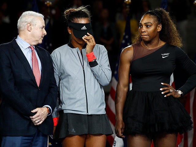 NEW YORK, NY - SEPTEMBER 08: Naomi Osaka of Japan after winning the Women's Singles finals match alongside runner up Serena Williams of the United States on Day Thirteen of the 2018 US Open at the USTA Billie Jean King National Tennis Center on September 8, 2018 in the Flushing …
