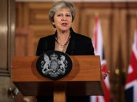 LONDON, ENGLAND - SEPTEMBER 21: British Prime Minister Theresa May makes a statement on Brexit negotiations with the European Union at Number 10 Downing Street on September 21, 2018 in London, England. Mrs May reiterated that a no-deal Brexit is better than a bad deal in a speech to the …