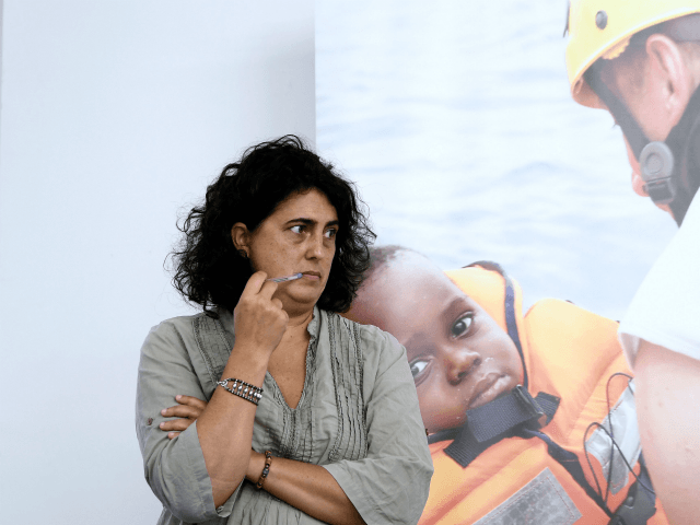 Claudia Lodesani, President of Doctors Without Borders Italy (MSF), NGO running with SOS Mediterranee, the Aquarius rescue ship, looks on as she gives a press conference in Rome, on September 27, 2018. - Humanitarian groups SOS Mediterranee and Doctors Without Borders met the press to brief on the status of …
