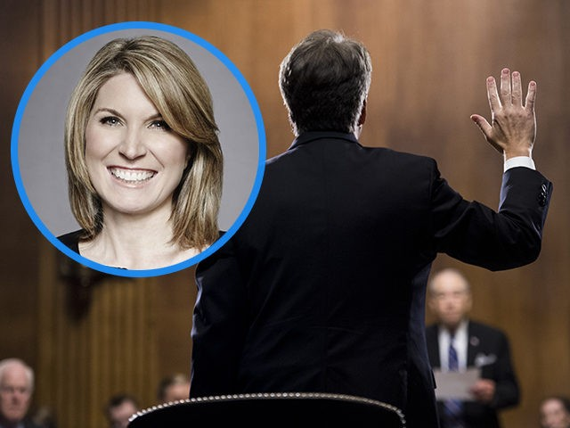 (INSET: Nicolle Wallace) WASHINGTON, DC - SEPTEMBER 27: Judge Brett Kavanaugh is sworn in before testifying during the Senate Judiciary Committee hearing on his nomination be an associate justice of the Supreme Court of the United States, on Capitol Hill September 27, 2018 in Washington, DC. A professor at Palo …