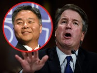"(INSET: Rep. Ted Lieu) Supreme court nominee Brett Kavanaugh testifies before the Senate Judiciary Committee on Capitol Hill in Washington, DC on September 27, 2018. - University professor Christine Blasey Ford, 51, told a tense Senate Judiciary Committee hearing that could make or break Kavanaugh's nomination she was ""100 percent"" …"