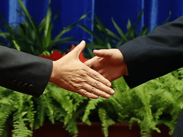 China's President Xi Jinping (R) shakes hands with Japan's Prime Minister Shinzo Abe (L) at the Great Hall of the People on the sidelines of the Asia-Pacific Economic Cooperation (APEC) Summit in Beijing on November 10, 2014. Top leaders and ministers of the 21-member APEC grouping are meeting in Beijing …