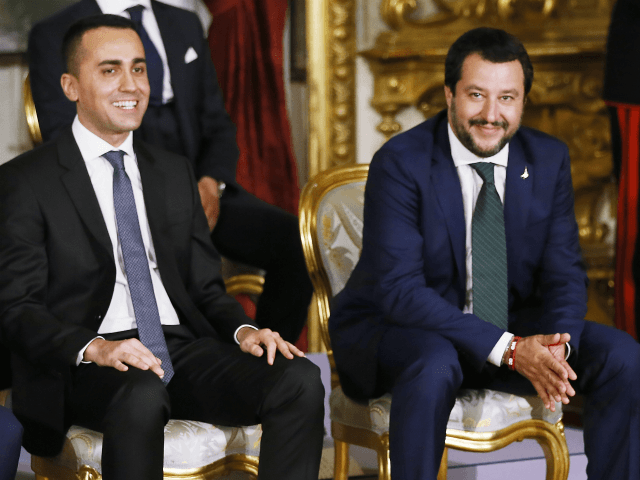 ROME, ITALY - JUNE 01: Labor and Industry and Deputy PM Luigi Di Maio and Interior Minister and Deputy PM Matteo Salvini attend the swearing in ceremony of the new government led by Prime Minister Giuseppe Conte at Palazzo del Quirinale on June 1, 2018 in Rome, Italy. Law professor …