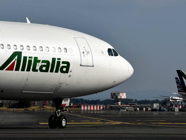 An Alitalia airplane is seen rolling on the tarmac on June 21, 2018 at the Fiumicino Airport, in Rome. (Photo by Alberto PIZZOLI / AFP) (Photo credit should read ALBERTO PIZZOLI/AFP/Getty Images)