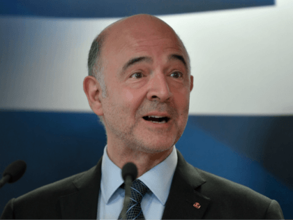 EU Economic Affairs Commissioner Pierre Moscovici talks to media during a joint press conference with Greek finance minister after their talks in Athens on July 3, 2018. (Photo by Louisa GOULIAMAKI / AFP) (Photo credit should read LOUISA GOULIAMAKI/AFP/Getty Images)