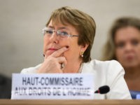 New High Commissioner for Human Rights Michelle Bachelet attends the opening day of the 39th UN Council of Human Rights in Geneva on September 10, 2018. - In her first speech as head of the UN rights called Bachelet for the creation of a new 'mechanism' tasked with preparing criminal …