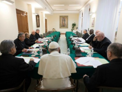 Pope Francis leads a meeting of the C9 council of cardinals (CNS photo/L'Osservatore Romano, handout)