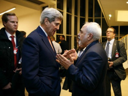 In this Jan. 16, 2016 file-pool photo, Secretary of State John Kerry talks with Iranian Foreign Minister Mohammad Javad Zarif in Vienna, after the International Atomic Energy Agency (IAEA) verified that Iran has met all conditions under the nuclear deal. Donald Trump isn't going to rip up the Iran nuclear …