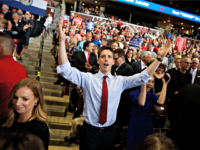 Republican Senate candidate Josh Hawley dances before President Donald Trump speaks during a campaign rally, Friday, Sept. 21, 2018, in Springfield, Mo.