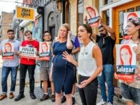 ULIA SALAZAR CAMPAIGN OFFICES, BROOKLYN, NY, UNITED STATES - 2018/08/06: (R) Julia Salazar, candidate for NYS Senate, and (L) Zephyr Teachout, candidate for NYS Attorney General, held together a press conference to endorse one another in Salazars Bushwick neighborhood. Salazar is the insurgent candidate challenging 16-year incumbent Martin Dilan for …