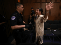 Protesters disrupt the start of the Supreme Court nominee Judge Brett Kavanaugh's confirmation hearing before the Senate Judiciary Committee in the Hart Senate Office Building on Capitol Hill September 4, 2018 in Washington, DC. Kavanaugh was nominated by President Donald Trump to fill the vacancy on the court left by …