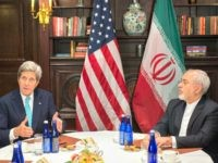 US Secretary of State John Kerry meets with Iran's Foreign Minister Mohammad Javad Zarif on April 22, 2016 in New York
