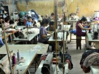 Laborers in a garment workshop on the outskirts of Hanoi in Vietnam